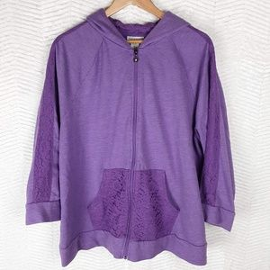 Catherine's Lace Trimmed Hoodie XXL PETITE.